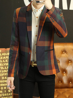 Colorful Plus Size Slim Lapel Contrast Grid Pockets Button Long Sleeve Men Suit for Evening Office