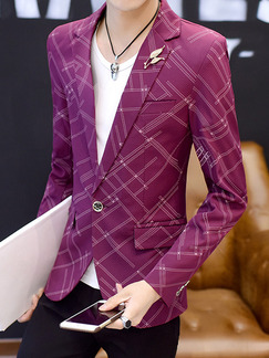 Purple Plus Size Slim Lapel Printed Pockets Button Long Sleeve Men Suit for Evening Office