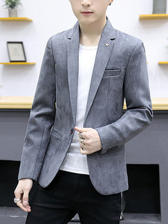 Grey Plus Size Suede Slim Lapel Pockets Button Long Sleeve Men Suit for Evening Office
