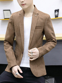 Brown Plus Size Suede Slim Lapel Pockets Button Long Sleeve Men Suit for Evening Office