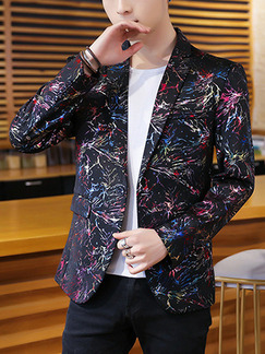 Colorful Plus Size Slim Printed Lapel Pockets Button Long Sleeve Men Suit for Evening Office