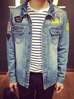 Blue Plus Size Denim Loose Holes Embroidery Single-Breasted Long Sleeve Men Jacket for Casual