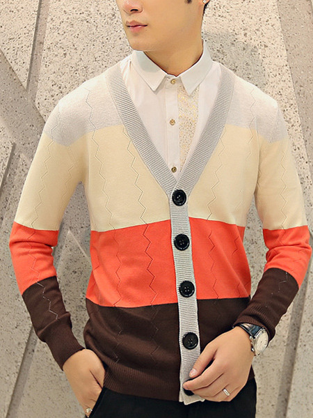 Colorful Plus Size Slim Contrast V Neck Single-Breasted Long Sleeve Men Cardigan for Casual