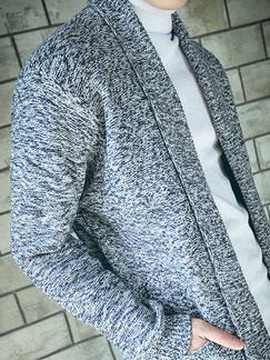 Grey Plus Size Slim Lapel Pockets Long Sleeve Men Cardigan for Casual Office