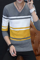 Grey White and Yellow Plus Size Slim Contrast Stripe V Neck Men Sweater for Casual