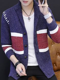 Blue White and Red Plus Size Slim Contrast Linking Lapel Single-Breasted Long Sleeve Men Cardigan for Casual Office