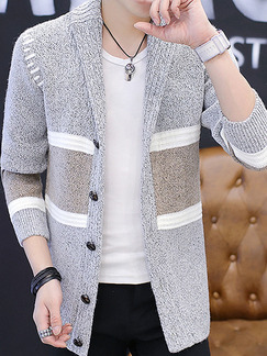 Grey and White Plus Size Slim Contrast Linking Lapel Single-Breasted Long Sleeve Men Cardigan for Casual Office