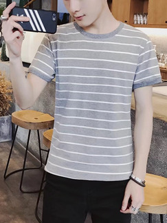 Grey and White Plus Size Slim Contrast Stripe Round Neck Men Shirt for Casual