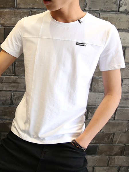 White Plus Size Slim Round Neck Letter Printed Men Shirt for Casual