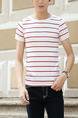 White and Red Plus Size Slim Contrast Stripe Round Neck Men Shirt for Casual