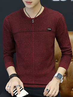Red Plus Size Slim Round Neck Long Sleeve Men Sweater for Casual