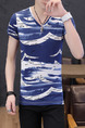 Blue and White Plus Size Slim Printed V Neck Men Shirt for Casual
