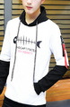White and Black Plus Size Slim Hooded Drawstring Contrast Linking Located Printing Letter Printed Ribbon Zipper Pockets Long Sleeve Men Hoodies for Casual