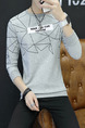 Grey Plus Size Slim Round Neck Letter Printed Located Printing Long Sleeve Men Sweater for Casual