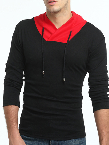Black and Red Plus Size Slim Contrast Stand Collar Drawstrings Long Sleeve Men Tshirt for Casual Sports