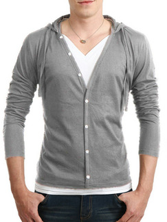Grey Plus Size Slim Hooded Drawstring Buttons Long Sleeve Men Tshirt for Casual