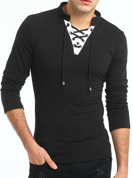 Black and White Plus Size Slim V Neck Drawstrings Band Long Sleeve Men Tshirt for Casual Sports