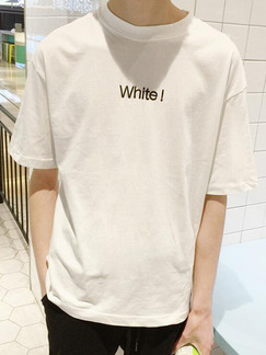 White Plus Size Loose Round Neck Letter Printed Men Tshirt for Casual