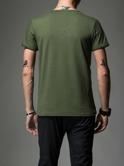 Army Green Plus Size Slim V Neck Men Tshirt for Casual