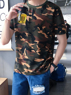 Black Brown and Green Plus Size Loose Round Neck Camouflage Men Tshirt for Casual