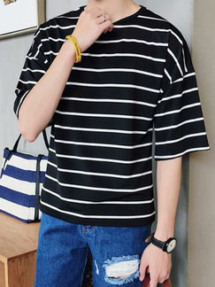 Black and White Plus Size Loose Round Neck Contrast Stripe Bat Sleeve Men Tshirt for Casual