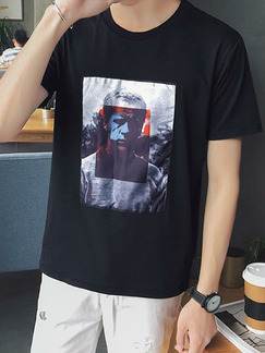 Black Plus Size Loose Round Neck Located Printing Men Tshirt for Casual