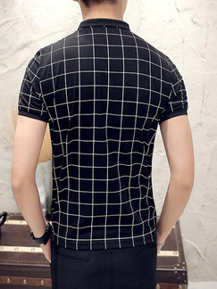 Black and White Plus Size Slim Contrast Grid Polo Collar Buttons Men Tshirt for Casual Party Office
