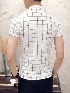 White and Black Plus Size Slim Contrast Grid Polo Collar Buttons Men Tshirt for Casual Party Office