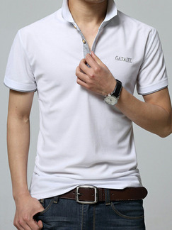 White Plus Size Slim Contrast Polo Collar Buttons Letter  Men Tshirt for Casual Party