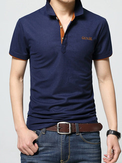 Blue Plus Size Slim Contrast Polo Collar Buttons Letter  Men Tshirt for Casual Party