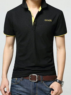 Black Plus Size Slim Contrast Polo Collar Buttons Letter  Men Tshirt for Casual Party