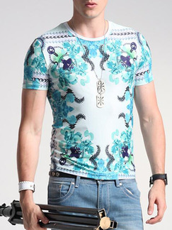 White Colorful Plus Size Slim Printed Round Neck  Men Tshirt for Casual