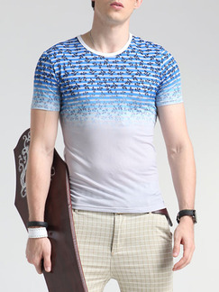 White and Blue Plus Size Slim Round Neck Contrast Linking Located Printing Men Tshirt for Casual