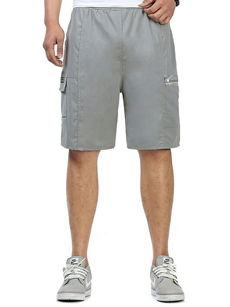Grey Loose Pockets Adjustable Waist Men Shorts for Casual