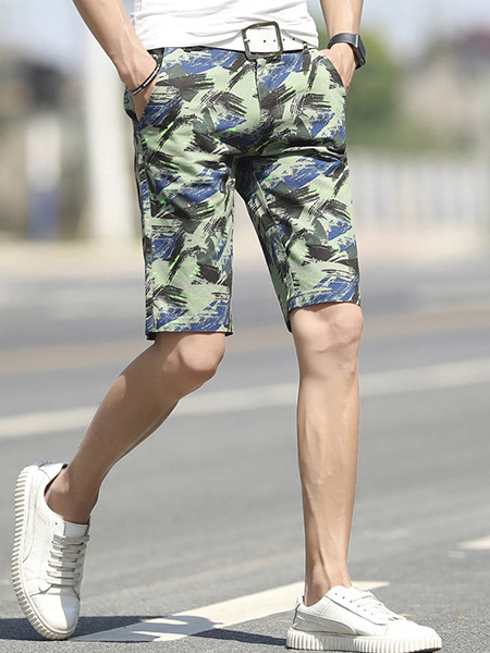 Army Green Slim Printed Plus Size Men Shorts for Casual