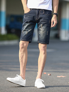 Navy Blue Loose Denim Shorts Men Shorts for Casual Party