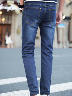 Navy Blue Slim Denim  Men Pants for Casual Party