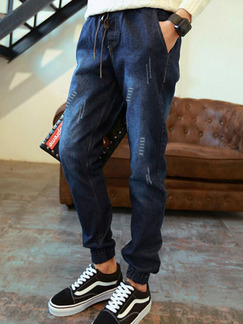Navy Blue Loose Harlen Pants Men Pants for Casual