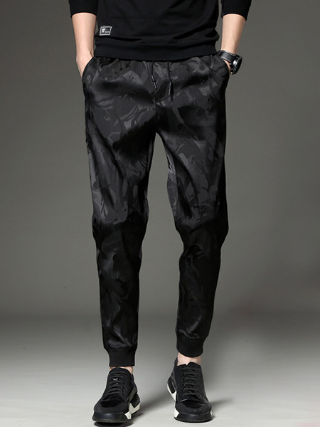 Black Loose Printed Plus Size Men Pants for Casual Sporty