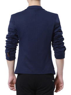 Navy Blue Slim Lapel Long Sleeve Men Suit for Office Evening Wedding Groomsmen