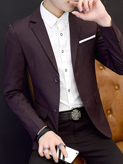 Wine Red Slim Lapel Long Sleeve Men Suit for Office Evening Wedding Groomsmen