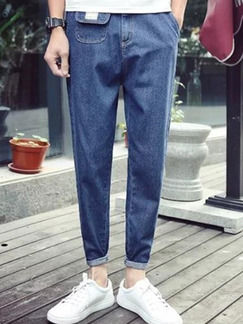 Navy Blue Slim Denim Straight  Men Pants for Casual