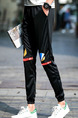 Black Slim Pattern Band Feet  Men Pants for Casual Sporty