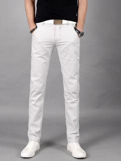 Light Gray Slim Straight Men Pants for Casual Party