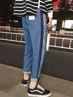 Navy Blue Loose Side Stripe Denim Men Pants for Casual