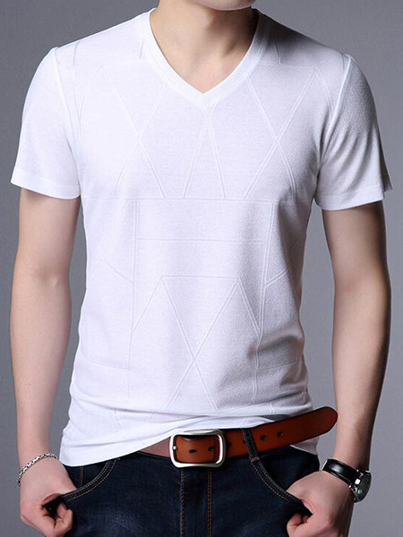 White Loose Knitting T-Shirt V Neck Men Shirt for Casual Party