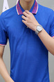 Royal Blue Slim Contrast Polo Collar T-Shirt Men Shirt for Casual