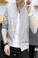 Light Gray Loose Stand Collar Long Sleeve Men Jacket for Casual