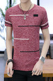 Red Slim Contrast Plus Size Men Shirt for Casual