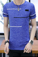 Royal Blue Slim Contrast Plus Size Men Shirt for Casual